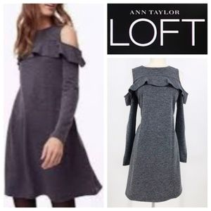 Loft Gray Ruffle Cold Shoulder Knit Swing Dress
